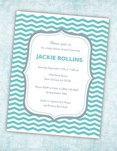 Customizable Blue and Grey Shower or Party Invitation (Blue Chevron Design) - Digital File. $15.00, via Etsy.