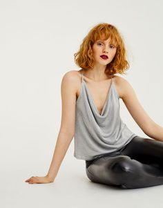 Shiny silver top - Partywear - Clothing - Woman - PULL&BEAR Indonesia