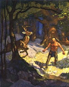 """""""Uncas Slays a Deer,"""" illustration from """"The Last of the Mohicans,"""" by James Fenimore Cooper (1919)"""