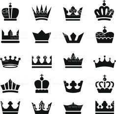 Icônes de la couronne stock vecteur libres de droits libre de droits