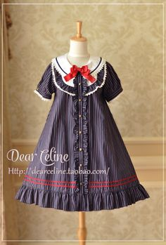 DC 15 SP College Wind striped short-sleeved summer doll dress - three-color - Taobao global Station