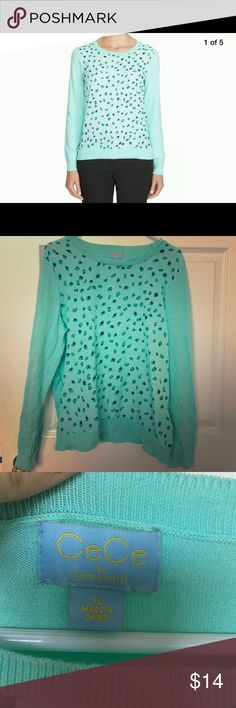 CeCe Mint Sweater - Satiney Front - XL - So Cute So cute, great condition. CeCe by Cynthia Steffe Sweaters Crew & Scoop Necks