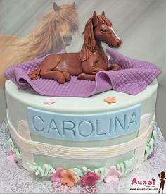 Horse cake - cake by Auxai Tartas Cowgirl Birthday Cakes, Cute Birthday Cakes, Horse Birthday, Pig Birthday, Fondant Horse, Horse Cake Toppers, Western Cakes, Birtday Cake, Horse Party