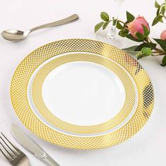 Extravagant Wedding Decor, Gold Wedding Decorations, Diamond Rims, Gold Napkin Rings, Gold Table Runners, Gold Candle Holders, Plastic Dinnerware, Disposable Tableware