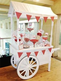 Wedding sweet cart Red & White theme by The Sweet Car Co. Wedding Car, Wedding Favours, Red Wedding, Wedding Reception, Elegant Wedding, Wedding Ideas, Wedding Sweet Cart, Wedding Table Centres, Sweet Carts