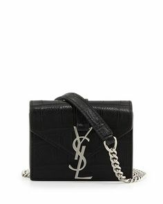 Cassandra Croc-Embossed Candy Crossbody Bag, Black by Saint Laurent at Bergdorf Goodman.
