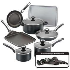 Farberware High Performance Nonstick 17-Piece Cookware Set, Black NEW #Farberware
