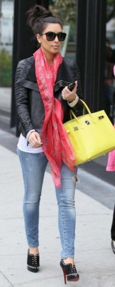 Scarf – Alexander McQueen    Purse – Hermes    Shoes – Christian Louboutin    Sunglasses – Bottega Veneta    Jacket – Rick Owens