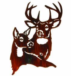 "SMRM18WHP - 18"" Summer Romance (Deer) Metal Wall Art by Kathryn Darling"