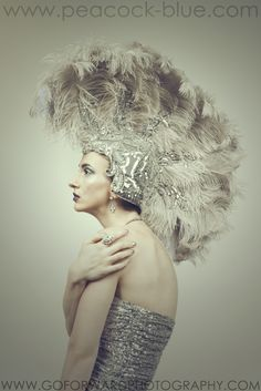 Treasures Of The Sea: Seahorse Gray Feathered Showgirl Headpiece | Peacock Blue Design Studio | fashion photography by: Michael D. Ward, Go ForWard Photography | Model/MUA: Katlin Sumner | Published in December 2014 VEUX Magazine | gray headpiece, feather headpiece, silver headpiece, ostrich feather headpiece | perfect for mardi gras, masquerade ball, costume ball, fancy dress party, costume party, burlesque