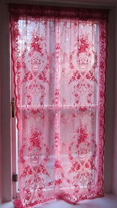 Pearls lovely pink lace curtains - i have loads of these, natural fibre lace curtains pref vintage and dye in machine, lace tablecloths work well