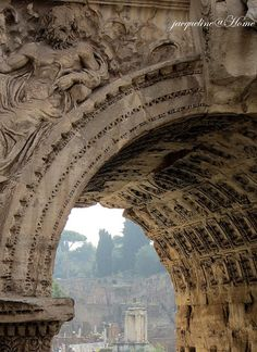 Ruins of Rome through the arch of Constantino