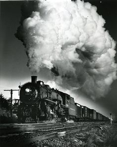 Washington State Historical Society - image of Northern Pacific Railway Locomotive no. 1766 pulling a freight train at St. Clair, Thurston County, WA, 1948