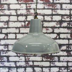 Vintage Industrial Benjamin Enamel Factory Pendant Ceiling Light Lamp Shade 1950 Pastel Kitchen, Shaker Style, Vintage Industrial, New Kitchen, Lamp Light, Decorative Bells, Enamel, Shades, Ceiling Lights