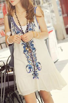 So Pretty! Comfy Casual Blue and White Embroidered Casual V-Neck Sleeveless Sundress #Comfy #Casual #Blue #White #Embroidered #Sundress #Summer #Fashion #Outfit #Ideas