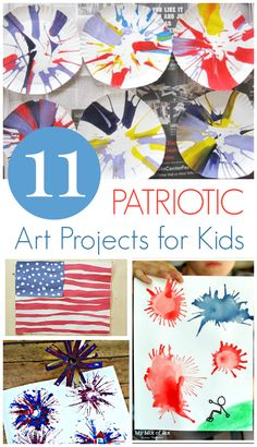 These patriotic art projects for kids are easy and quick to set up and do... Perfect for the July 4th weekend!