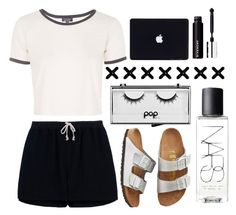 white x black by bianca-xoxx on Polyvore featuring Topshop, Rick Owens, Birkenstock, Pop Beauty and NARS Cosmetics