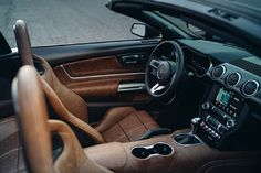 The interior is top-notch thanks to fine Italian leather flanked by custom panels and plenty of carbon. Ford Mustang Convertible, Italian Leather, Interior, Motorcycles, Trucks, Babies, Cars, Top, Babys