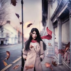 I love leaves flying around in photos. Photo by Rosie Hardy via Flickr. Contemporary Photography, Amazing Photography, Portrait Photography, Fashion Photography, Teen Photography, Conceptual Photography, People Photography, Crazy Funny, Depth Of Field