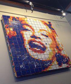 Rubik's cube mosaic - made from 256 cubes - wall art at Red Robin, Santa Clara