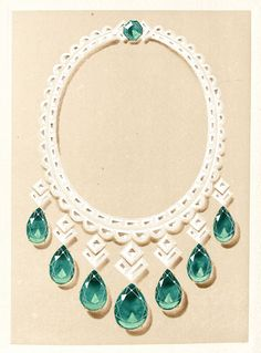 Hand-colored plate illustrating Cartier's brilliant emerald necklace. Cartier, 1847–1947. Paris: Société d'Étude, 1947. Printed in an edition of 1,500 on the occasion of Cartier's one hundredth anniversary. Watson Library Special Collections