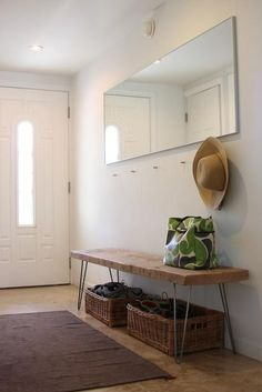 Minimalist entryway and DIY hairpin leg reclaimed wood bench Steal This Look: DIY Entryway with Hairpin Leg Bench : Remodelista Apartment Entryway, Entryway Decor, Entryway Tables, Entryway Mirror, Foyer Bench, Modern Entryway, Apartment Furniture, Narrow Entryway, Modern Decor