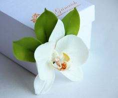 Brooch polymer clay flower. White orchid flower  brooch accessories. Made from polymer clay. For women. Jewelry, brooch, gift, rusteam