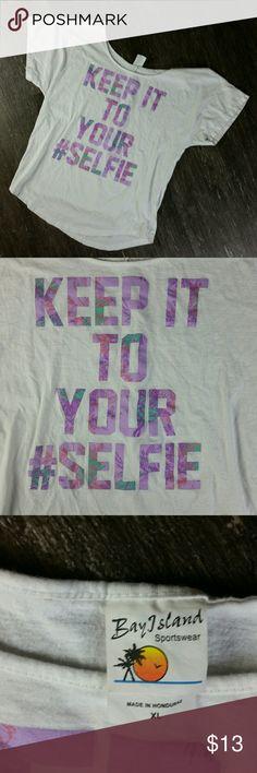 #SELFIE Bay Island KEEP IT TO YOUR #SELFIE Hashtag Tee Boat Neck Short Sleeve T-Shirt Bay Island Tops Tees - Short Sleeve