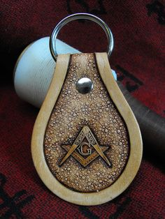 Hand Tooled Leather Masonic Key Chain by JPsLeather on Etsy, $10.00