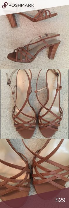 """Great condition Loft sandals Great condition Loft sandals- only wear is slight at soles. Strapped sandals with stacked heel. Medium brown color- great neutral! 3 1/4"""" heel with 1/4"""" platform. LOFT Shoes Sandals"""