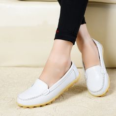 Women flats Genuine Leather Oxfords Round Toe Women Flat Shoes Colors slip on Casual Shoes Hollow Womens Loafers Driving Shoes Women's Casual, Casual Shoes, Mocassins, Driving Shoes, Loafers For Women, Flat Shoes, Oxfords, Womens Flats, Espadrilles