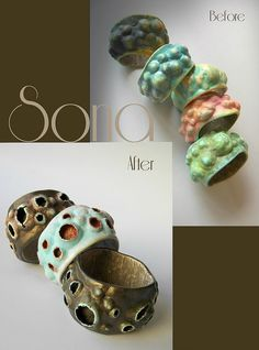 Sona Grigoryan Some changes.)) Sometimes I change my stuff and convert the mountains into valleys. Polymer Clay Bracelet, Polymer Clay Canes, Polymer Clay Beads, Clay Earrings, Biscuit, Polymer Clay Animals, Clay Design, Paperclay, Ceramic Clay