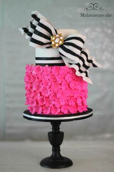 black and white striped bow topped hot pink cake #cakelove