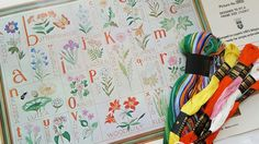 """Complete embroidery Kit """"Wildflower Alphabet Sampler"""" Paragon Needle Craft 100% Fine Belgian linen. #0955 (17"""" x 23 1/2"""") by AmourFabriQues on Etsy"""