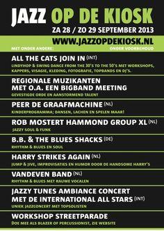 Het voorlopige programma van Jazz op de Kiosk 2013.