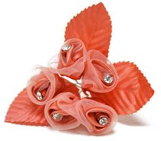 Coral Sheer Satin and Rhinestone Rose Pick - Corsage/Boutonniere ...