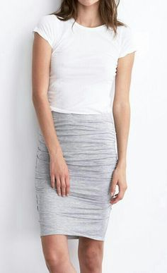 casual comfortable pencil skirt and t-shirt. Add a scarf and some tennis shoes.  (chicfoo)