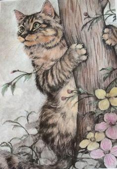 #cat #art #kitty #kitten #tree #flower #drawing