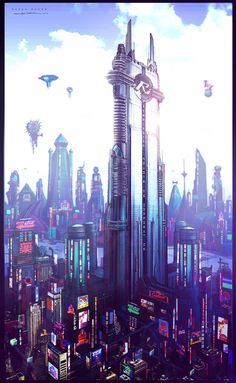 Cyber City, Cyberpunk, Future Architecture, Futuristic City, Speed Racer Concept Art by George Hull