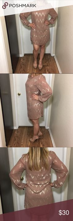 Brown dress long sleeve Shell lining brown dress with shiny gold zig zag pattern Darby Dresses Long Sleeve