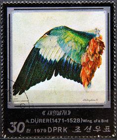 Democratic Republic of Korea.  450th DEATH ANNIVERSARY OF ALBRECT DÜRER.  DETAILS FROM DÜRER'S PAINTINGS.  WING OF A BIRD.  Scott 1813 A977, Issued 1979, 30. /ldb.