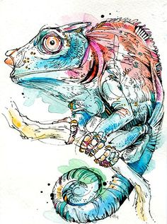 Chameleon. India ink, watercolor, and Tombow markers. #watercolor #illustration #chameleon #reptile