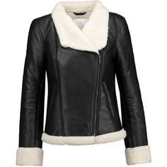 W118 by Walter Baker - Faux Shearling-lined Leather Biker Jacket ($359) via Polyvore featuring outerwear, jackets, black, real leather jackets, asymmetrical zip jacket, rider leather jacket, biker jacket and leather jackets