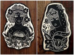 Tattoo Wood Carvings by Bryn Perrott Linocut Prints, Art Prints, Traditional Tattoo Art, Seal Design, Linoprint, Tattoo Flash Art, Gravure, Art Inspo, Printmaking