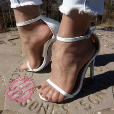 Only Stiletto Sandals: Archive Pantyhose Heels, Stockings Heels, Winter Stockings, Stockings Lingerie, White High Heel Sandals, Sexy High Heels, Quoi Porter, Gorgeous Feet, Female Feet