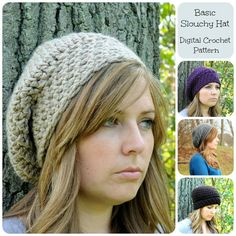 Basic Slouchy Hat Pattern Crochet Hat Pattern by SimplyMadeByErin
