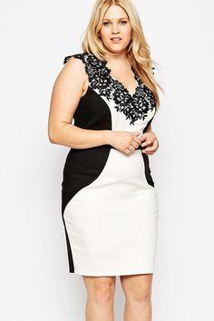V-Neckline With Floral Embroidered Trim Plus Size Dress