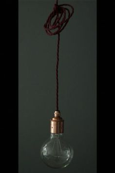 Copper Edison es27 Screw Light Fitting with Burgundy Twisted Flex  Black Ceiling Rose