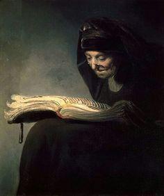 Cerchia di Rembrandt. La madre che legge. 1631-1634. Olio su tela. 74.4x12.7 Collezione privata.