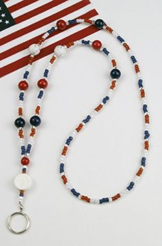 Show your colors: Red, White and Blue! Show your pride in America - still the greatest country in the world! Red and blue riverstone beads and white beads with stars give this lanyard a special look. Lanyard Necklace, Diy Necklace, Garnet Necklace, Body Jewelry Shop, Beaded Lanyards, Glass Necklace, Diy Jewelry Making, Beaded Jewelry, Gold Jewellery